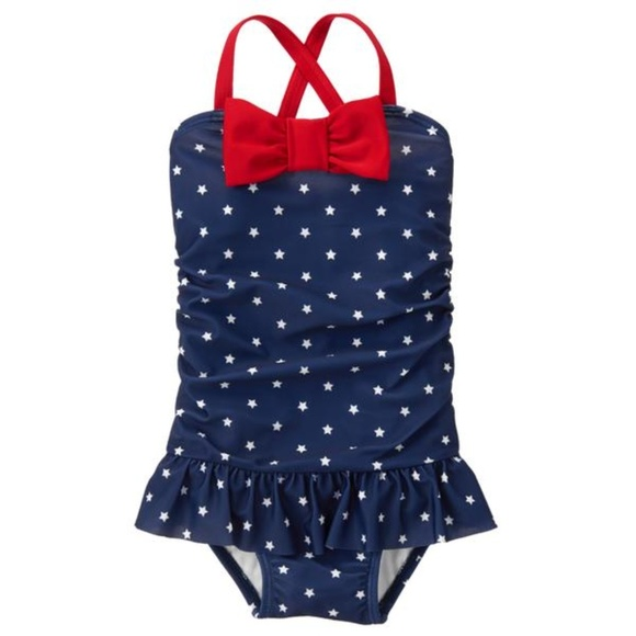 Gymboree Other - Gymboree Toddler Girl Gym Navy Star Swimsuit 5T